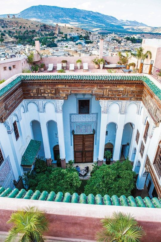 View of the interior courtyard and beyond at Riad Laaroussa in Fez from Condé Nast Traveller, November 2014