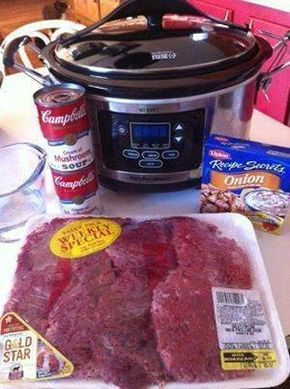Crockpot Cube Steak and Gravy! Cube steak (I used a family size pack) 2 cans (10.75 ounce size) cream of mushroom soup 1 envelope onion soup mix 3/4 cup water Salt and Pepper to taste Place all ingredients in a crock pot. Cook on low all day. Serve over rice, noodles, mashed potatoes or with your favorite side dishes.