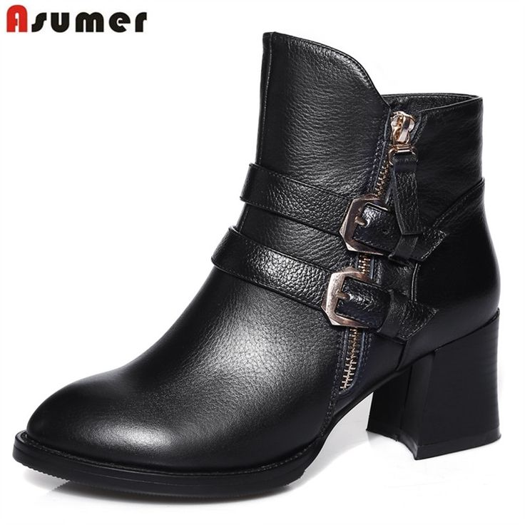 99.00$  Watch now - http://aliybd.worldwells.pw/go.php?t=32701616709 - 2016 autumn spring quite fashion women ankle boots with buckle and zip pointed toe square heels genuine leather ladies shoes 99.00$