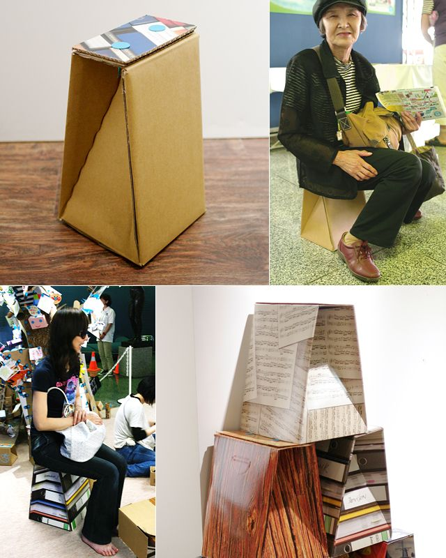 Durable stool made from cardboard box | QE Stool (Quick & Easy Stool)