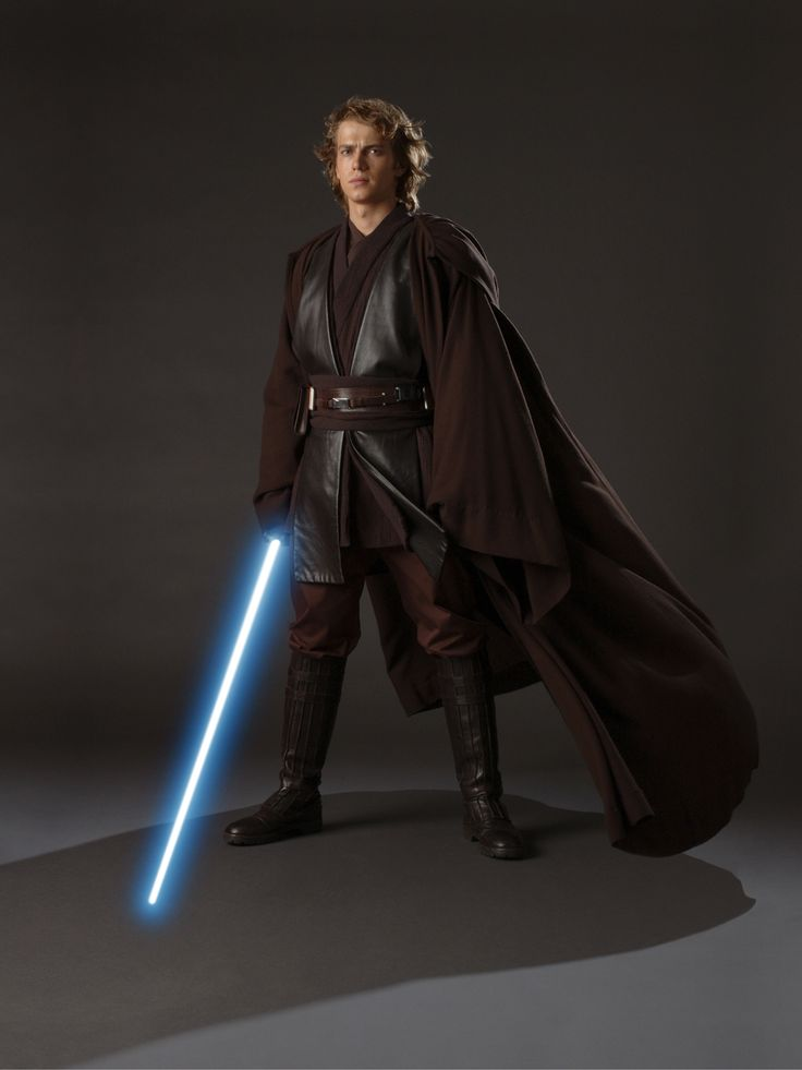 Anakin Skywalker - (portrayed by Jake Lloyd (I), Hayden Christensen (II, III, and the revised version of VI), James Earl Jones (voice) (III, IV, V, and VI), David Prowse (IV, V, and VI), Sebastian Shaw (VI), Mat Lucas (Star Wars: Clone Wars), and Matt Lanter (Star Wars: The Clone Wars))  Jedi, his master was Obi-Wan Kenobi. Was married to Padmé Amidala; father of Luke and Leia. He is an excellent Pod Racer and he is the Chosen One. Known as Darth Vader after his fall to the dark side.