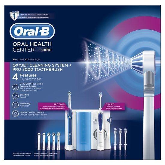 Oral B Oral-B Pro 3000 Elektrische Tandenborstel  Oxyjet Systeem  Description: Oral-B Pro 3000 Elektrische Tandenborstel  Oxyjet Systeem De Oral-B Elektrische Tandenborstel - Oxyjet  PRO 3000 is een op tandartsen genspireerd mondverzorgingssysteem voor een uitstekende reiniging tandvleesverzorging wittere tanden en ultra frisse adem. De elektrische tandenborstel geeftuniekcomfort van eenmonddouche voor een diepgaande grondige reiniging een zachte tandvleesmassage en een boost van frisheid om…