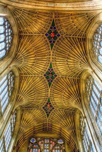 Vaulted Ceiling of Bath Abbey, England When going to historic cities like Bath it's always best to go by steam train