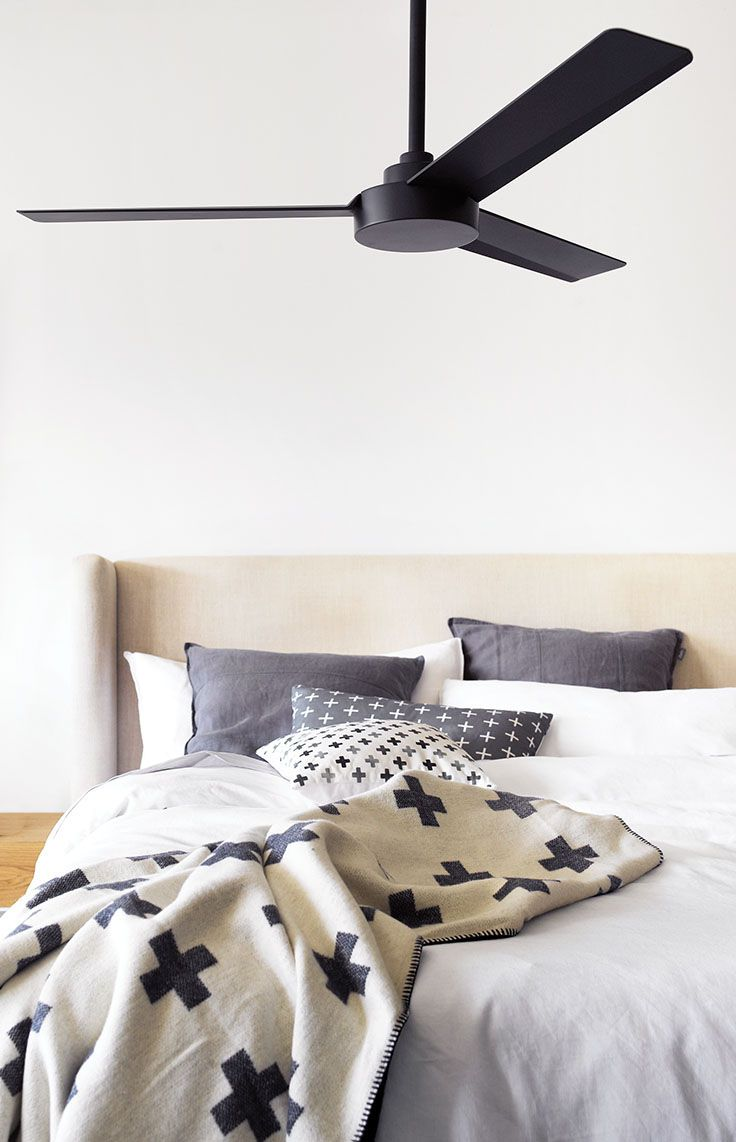 The Beacon Lighting Minka Aire Roto 3 blade ceiling fan only in matt black, not light adaptable. Remote compatible (sold separately)