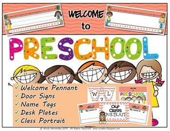 Back to School: Here is a cute kid themed set of printables for your back to school classroom organization. Included in this pack are: 1. A welcome pennant            2. Two door signs                Welcome to Preschool and Our teacher is...            3.