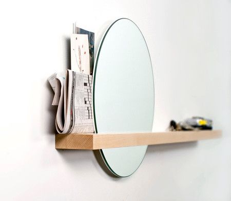 Rise/Set Mirror round mirror and solid wood shelf