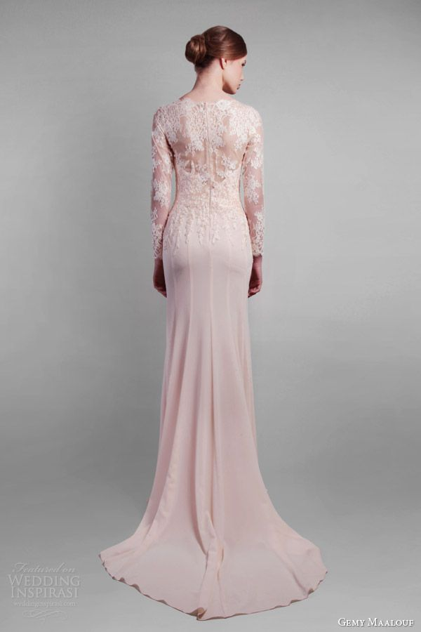 gemy maalouf couture spring 2014 long sleeve lace gown back