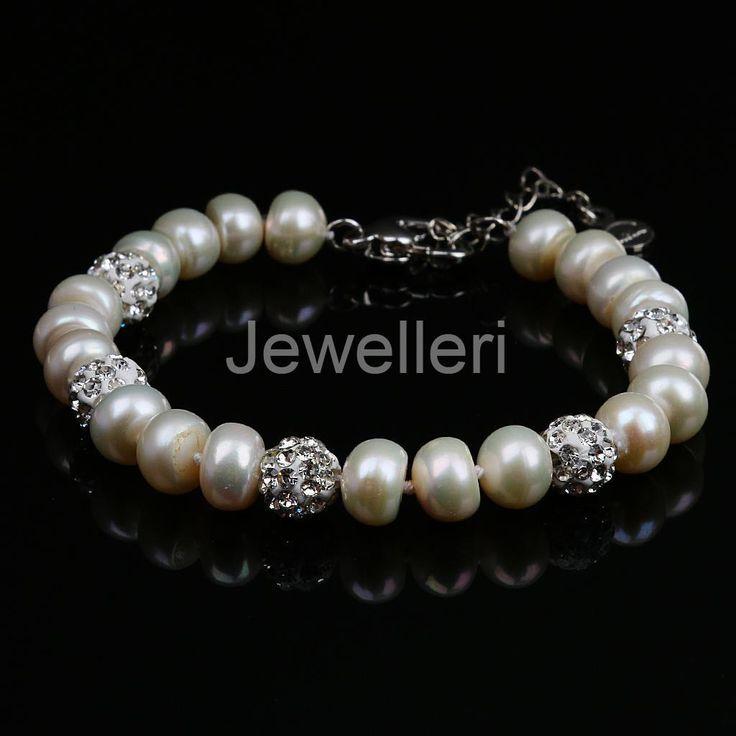 8-9 Mm Freshwater Cultured Pearl Bracelets 925 Sterling Silver Jewelry