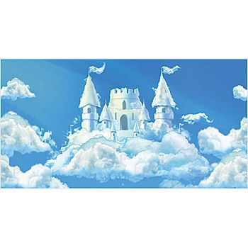 Our Cloud CastleCloud Castle Background Illustration is ideal for any fairytale of princess party. Add your own custom wording to the cloud castle backdrop.