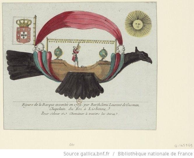 Figure de la Barque inventée en 1709 par Barthélemi Laurent de Gusman, Chapelain du Roi à Lisbonne Pour s'élever et Cheminer à travers les Airs .