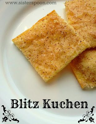 Sister Spoon - Blitz Kuchen.  A German cookie that takes 5 ingredients and 15 minutes to make.  Perfect for kids (to eat and to make) and goes great with a cup of coffee.