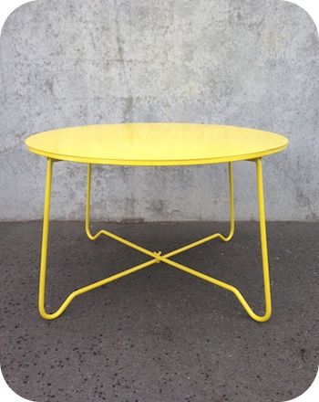 OUTDOOR FURNITURE | METAL WIRE COFFEE TABLE. Akaroa Table in Yellow $269 from Ico Traders