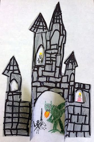 Castle Craft (opened doors and windows!!)-did a printed coloring book page castle and had kids cut out doors and windows. Was really cute!