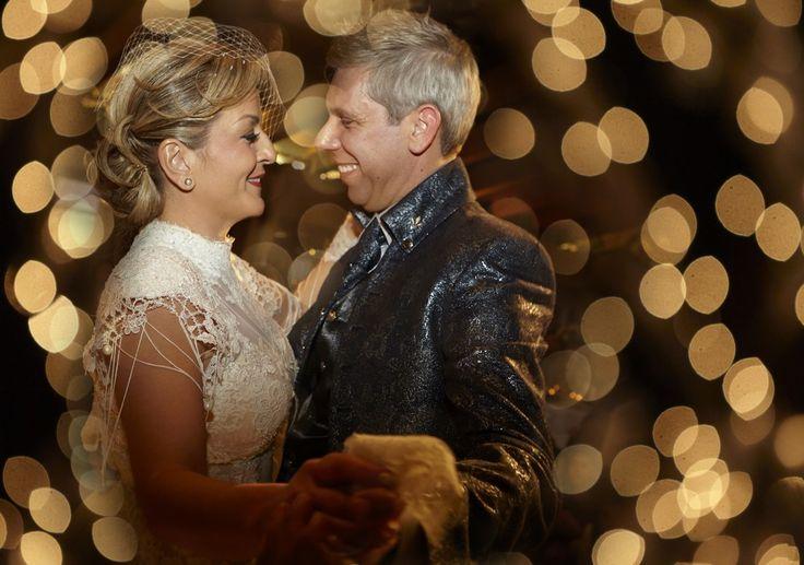 Dancing together wedding love lights bride groom gold