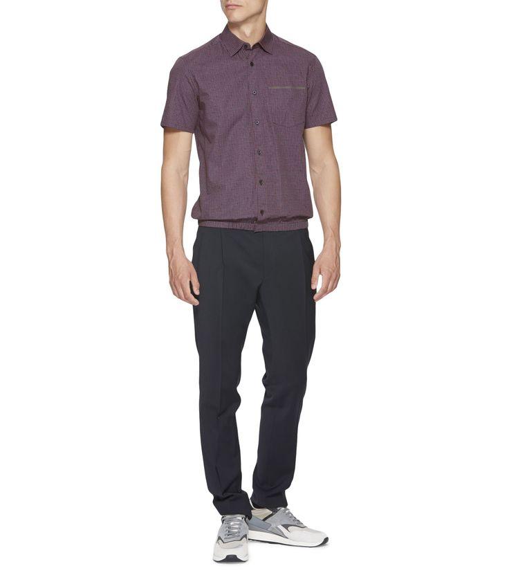 ブルー/レッド ギンガムプリントコットンシャツ