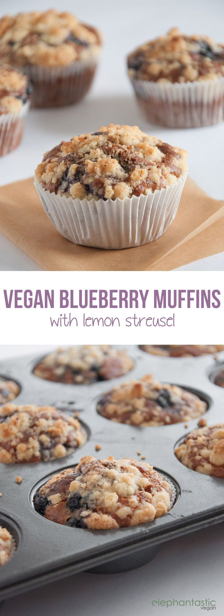 Vegan Blueberry Lemon Streusel Muffins | http://ElephantasticVegan.com