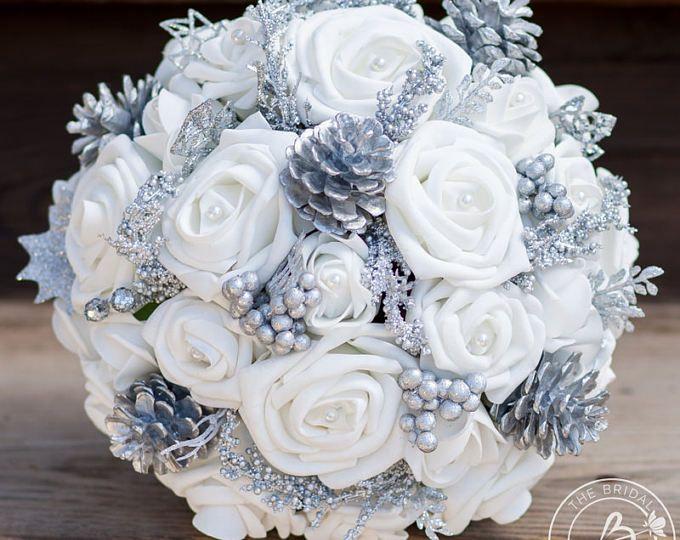 Winter wedding bouquet, winter bridal bouquet, winter wonderland wedding, white and silver wedding bouquet, pine cone pinecone bouquet,