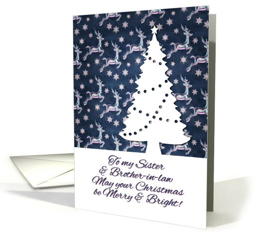 Merry Christmas, Sister & Brother-in-law - navy reindeer pattern, tree card