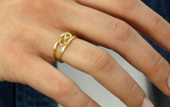 Gold Infinity Ring, Double Infinity Silver Ring, Friendship Ring, Gold Filled Ring, Eternity Ring, Eternal Love Gift, Symbol Jewelry, SR0198