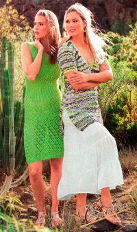 Как связать спицами зелёное облегающее платье оттенка первой зелени