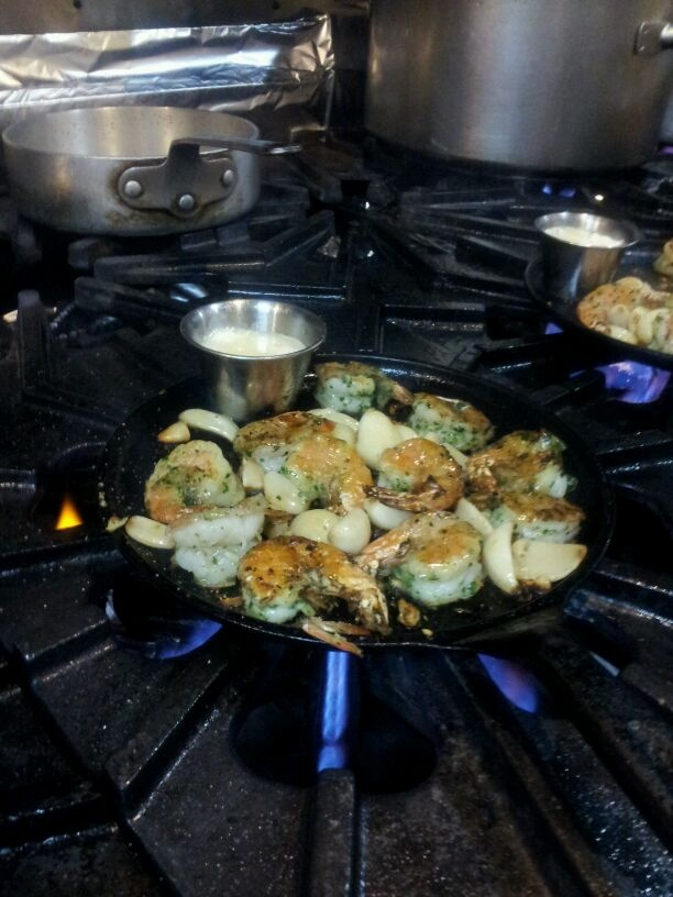 Sizzling Iron-Skillet Roasted Shrimp at The Stinking Rose, A Garlic ...
