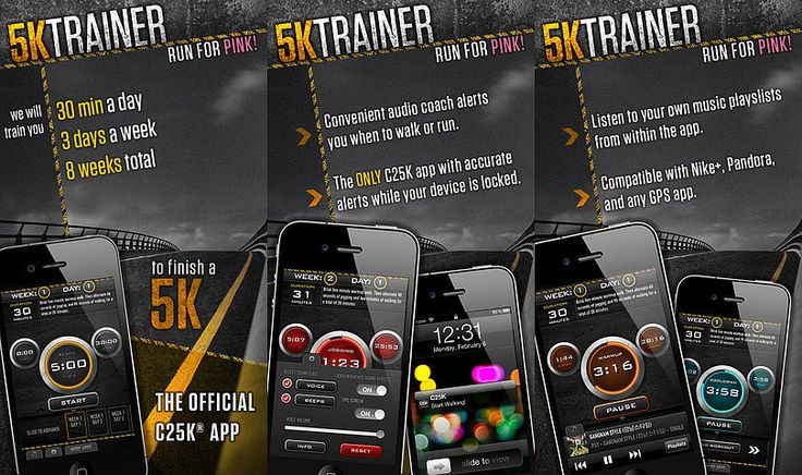C25K - 5K Trainer - free app offers an 8 week program consisting of three 30 minute workouts that tells you what to do alternating jogging and walking, can also be linked to Nike+Running. Perfect for beginner runners looking to tackle a 5K.