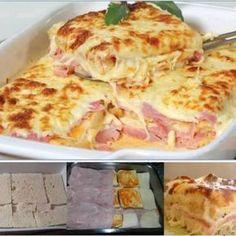 Receita de Lasanha de Pão de Forma - 500g de queijo mussarela, 3 dentes de alho, 1 cebola, 1 lata de creme de leite, 1 pacote de pão de forma, 500g de presu...