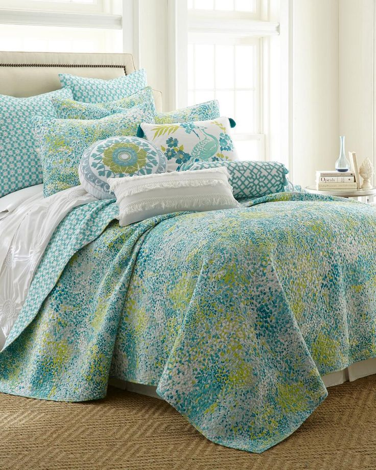 Exclusively Ours - Paint Daub Teal Quilt Collection-Bedding Collections-Nina Campbell Home-Featured Brands-Bed & Bath | Stein Mart
