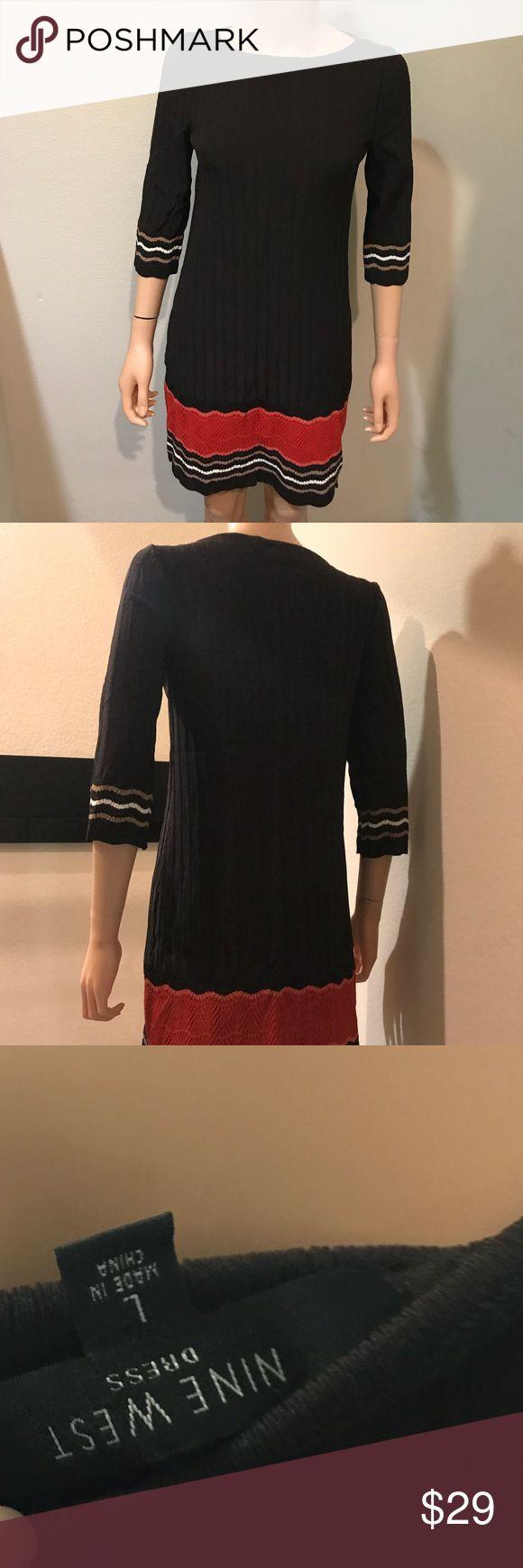 3/4 Sleeve Business Colorblock Dress Like New. 3/4 Sleeve Business Colorblock Dress. Black/Red/White Size L Nine West Dresses Midi