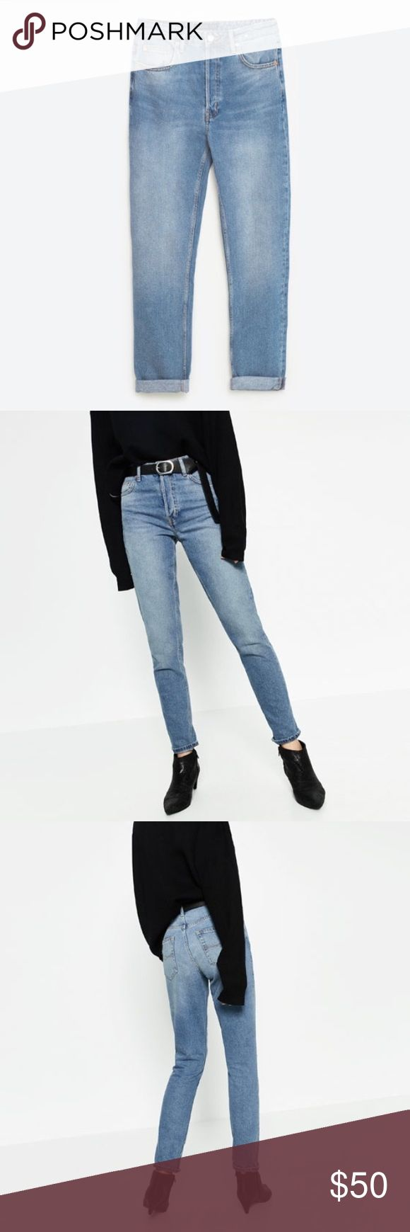 Zara high rise straight cut jeans Zara high rise jeans! Sold out online in a month! Unfortunately, they did not fit and I missed the return window as I was out of town. Zara Jeans