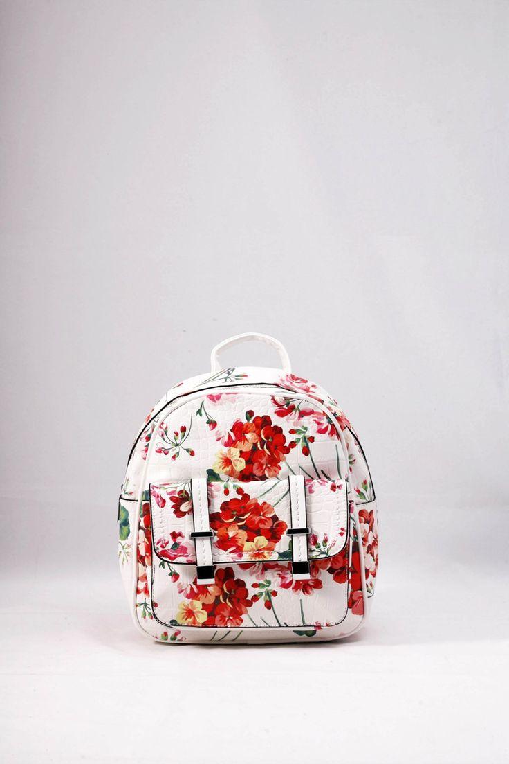 Σακίδιο πλάτης λευκό με φλοράλ σχέδια σε ροζ – κόκκινο. ΚΩΔ.: 317.016 ΤΗΛ: 2510241726
