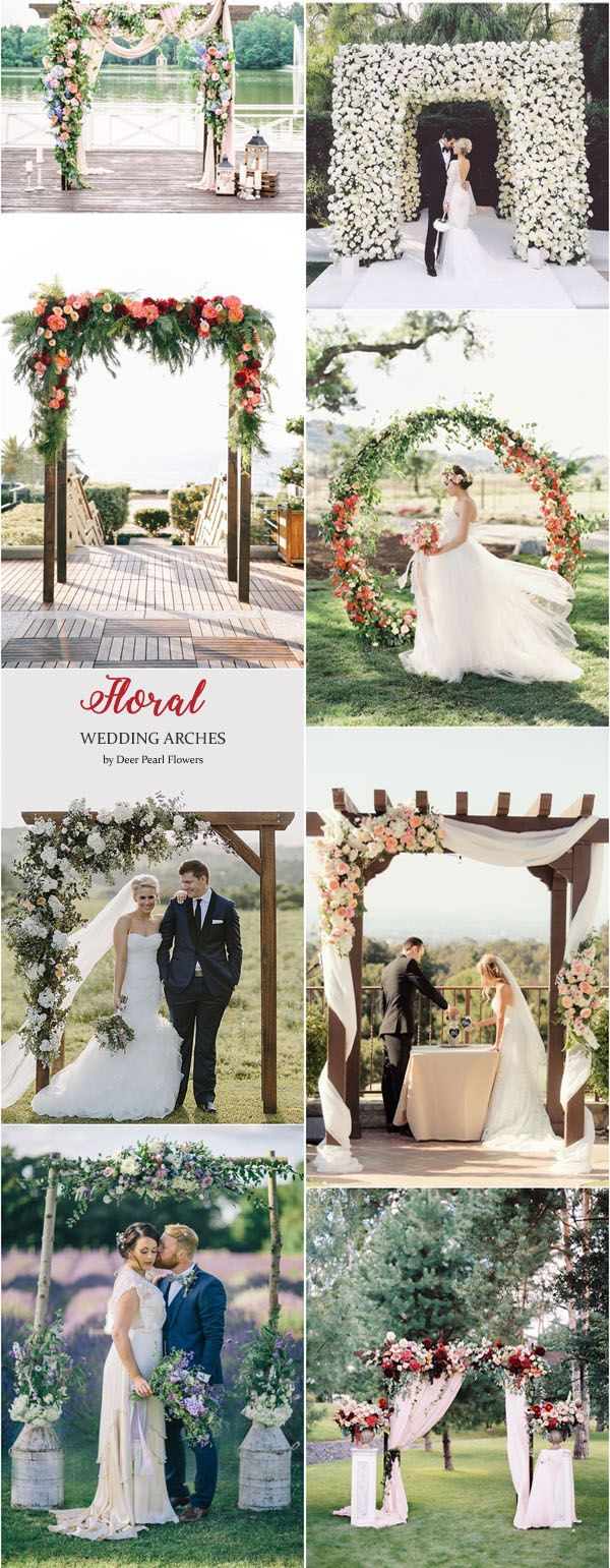 Floral wedding arches & alter wedding ideas / http://www.deerpearlflowers.com/wedding-ceremony-arches-and-altars/3/