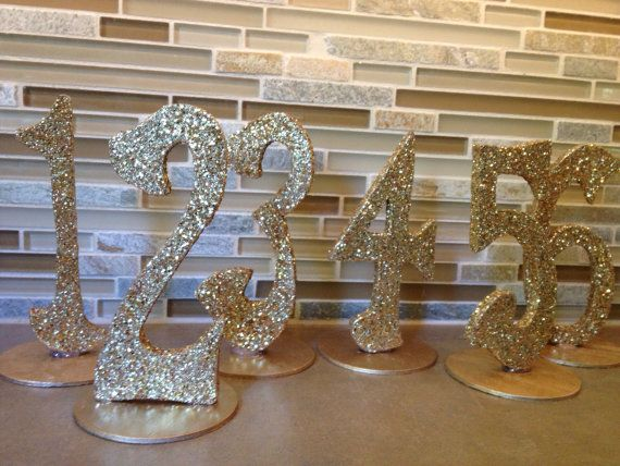 Wedding Decor Glitter Guest Table Numbers by KimberlyAnneDesigns, $50.00