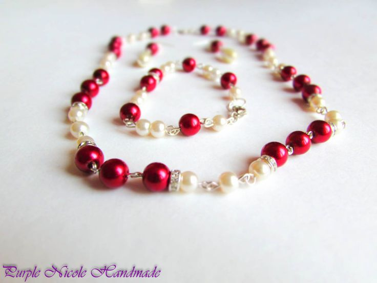 Royal Elegance - Handmade Jewelry Set: necklace, bracelet and earrings, by Purple Nicole Handmade (Nicole Cea Mov). Materials:  metallic accessories, glass red and ivory pearls, shinny transparent rhinestones.