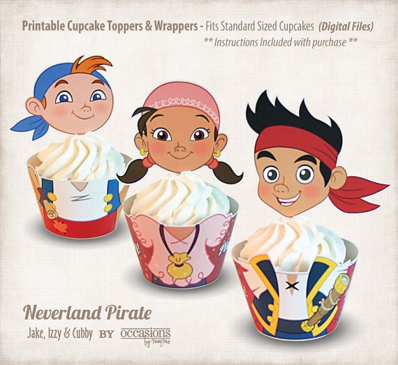 Printable Jake and the Neverland Pirates Cupcake Toppers & Wrappers, Digital Files
