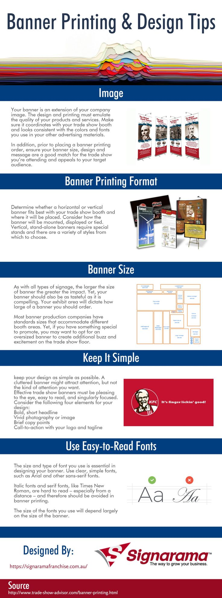 The following infographic is designed by Signarama Franchise. In this infographic you will learn some tips to consider when designing or a banner for printing. Commonly speaking, a vinyl banner is simple to design. Any person having a small experience of graphic design can easily design a vinyl banner. And yet if you have no experience, your dealer can direct you on the right way, or even design your banner on a little charge.