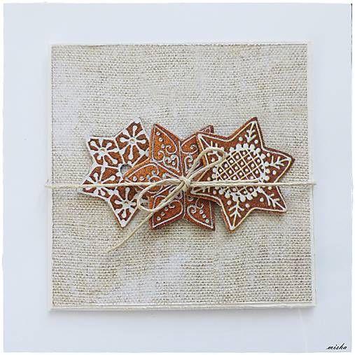 misha_cards / ❄Vianočná pohľadnica medovníčkové vločky❄