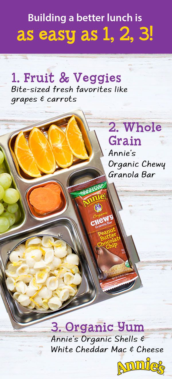 School is back in session, which means it's officially time to brush up on your lunch packing skills! Build a better lunch box for your kids in 3 quick & steps (all with the help of your friends at Annie's!)  Step 1: Start with Annie's Shells & White Cheddar Macaroni and Cheese. Step 2: Toss in an Annie's Organic Chewy Peanut Butter Chocolate Chip Granola Bar. Step 3: Finish off with some fresh fruit to add a little sweetness.