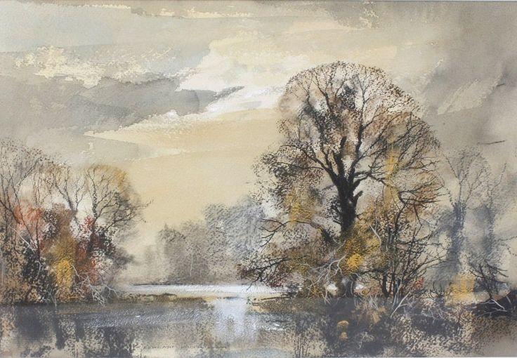 """14517332_1_x.jpg (1000×693)Rowland Hilder (1905 - 1993), watercolour, an autumnal river landscape, signed, 13"""" (33cm) x 19.5"""" (49.5cm)"""