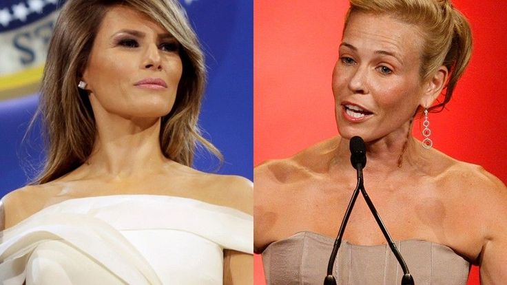 Racist and Idiot Chelsea Handler took a swipe at Melania Trump saying she wouldn't interview the First Lady because she can barely speak English. BTW Melania speaks 5 languages - Loser Chelsea only one!
