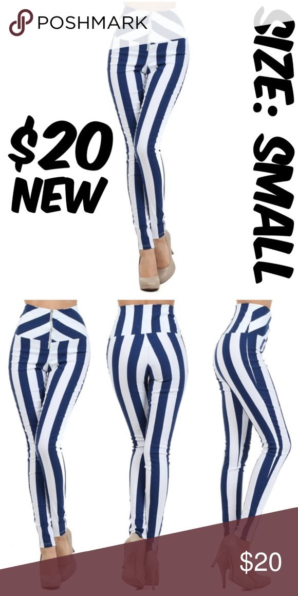 "Stripe Pin Up Slimming Girl Stretch Skinny Pants NEW WAIST: 24-26"" FULL LENGTH: 41"" INSEAM: 30"" #C6 Pants Skinny"