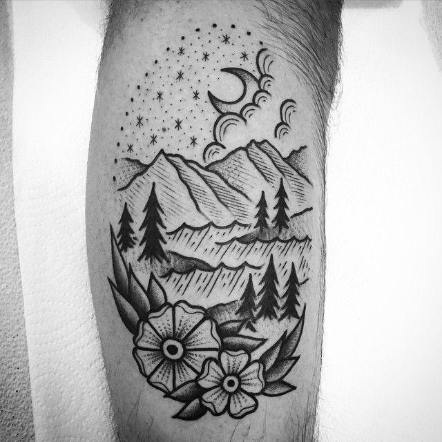 Mountain Tattoo Traditional Nature Half