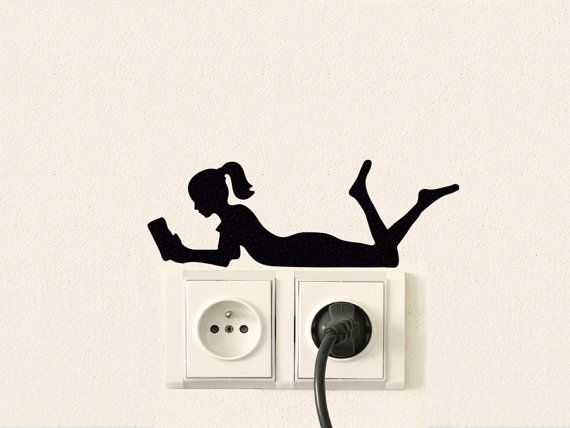 Girl Silhouette Fabric Wall Decor - Girl Reading Velvet Wall Decal - Teen Girls Room Decor - Fabric Sticker