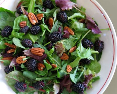 This is an elegant salad full of antioxidants, fiber and vitamin E and C. Baby greens and arugula tossed with pecans and berries is a nice light salad to complement a meal. This salad relies on different textures rather than fat for flavor. Sweet, crunchy pecans, peppery arugula, and juicy berries all complimented with a light vinaigrette.    Mixed Baby Greens with Blackberries, Pecans and Champagne Vinaigrette Gina's Weight Watcher Recipes Servings: 8 servings • Points +: 4 pts • Smart…