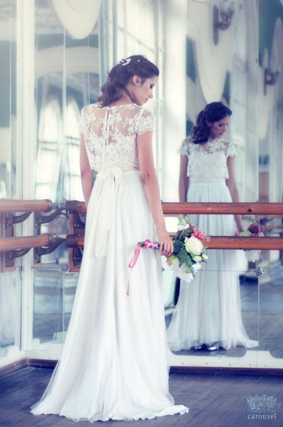 Haut de mariage dentelle séparé, modèle Fleur - Boutique: CarouselFashion, Etsy - La Fiancée du Panda blog Mariage et Lifestyle