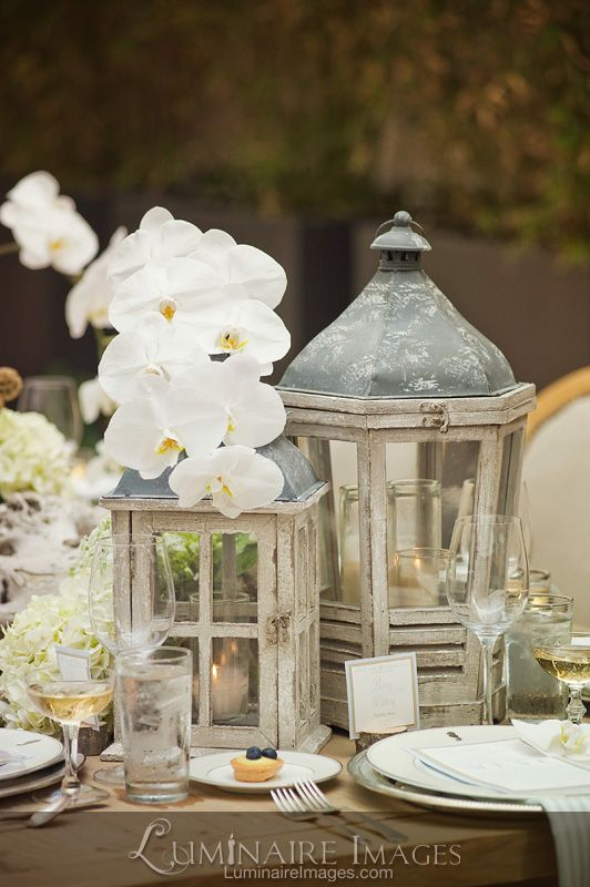 Cape Cod inspired #wedding #tablescape with white #orchids by A Good Affair