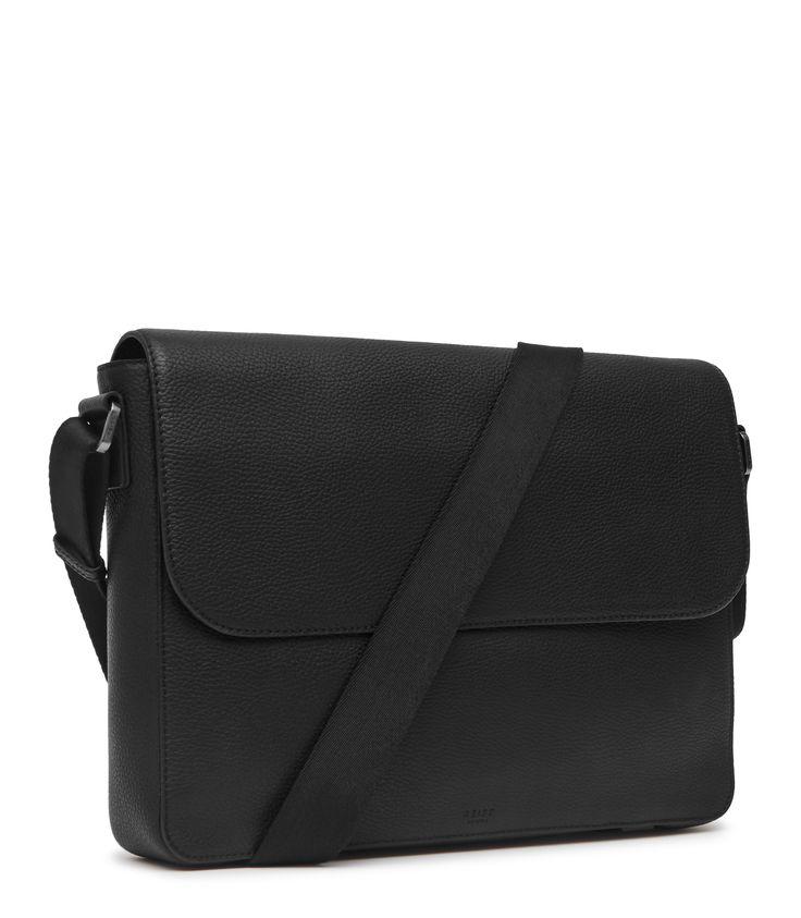 Mens Black Leather Messenger Bag - Reiss Morten