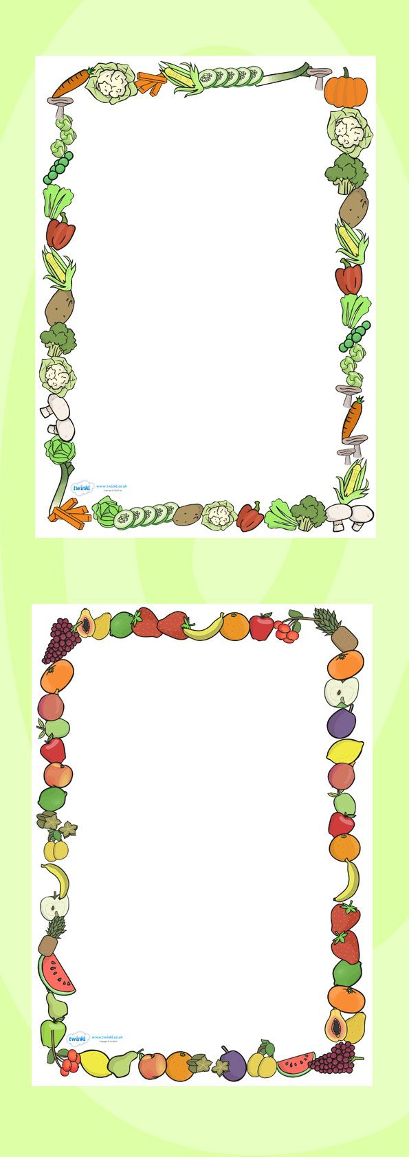 Twinkl Resources >> Fruit and Vegetables Themed A4 Page Borders  >> Thousands of printable primary teaching resources for EYFS, KS1, KS2 and beyond! food, fruit, vegetables, page border, writing borders, A4, border, good eating, healthy snack, snack, independent writing, apple, banana, carrot, potato, tomato,