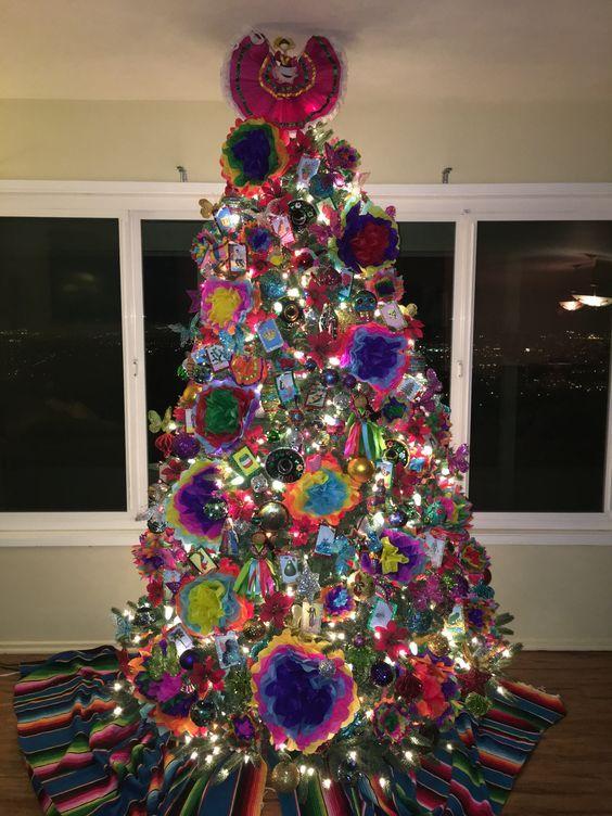 Rbol de navidad con tema mexicano decoracion de arboles for Arboles navidenos decorados