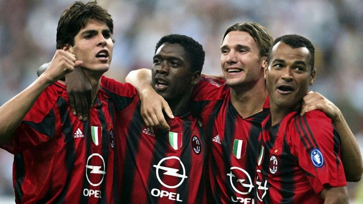 Kaka, Seedorf, Shevchenko, Cafu celebrating an AC Milan goal.